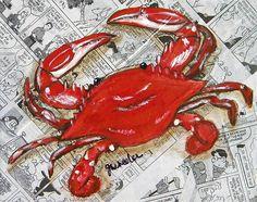 Crab Painting - The Daily Crab by JoAnn Wheeler Crab Painting, Painting & Drawing, Crab Art, Louisiana Art, Coastal Art, Coastal Living, Nautical Art, Paint Party, Beach Art