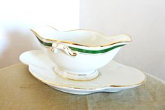 Antique French Poecelain Sauce Boat  Late 18th to by LaCassoulere, $65.00
