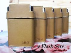 Set of 4 Groomsmen Gifts Engraved Flask Will You Be My
