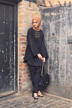 Classic Black Cape Stylish winter cape for maximum comfort and and practicality. www.inayahcollection.com #inayah#winterfashion#modestfashion