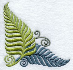Fanciful Ferns Corner design (D5368) from www.Emblibrary.com