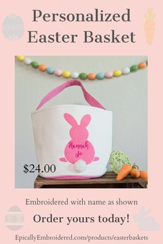 These beautiful Easter baskets come personalized with embroidered name or 3 letter monogram. They are canvas on the outside and lined on the inside with an adorable cotton tail. Generously sized at 9 inches tall and 9 inches wide they have plenty of room to fill with eggs, stuffed animals and gifts! #easterbaskets #personalizedeasterbaskets #easterdecor #easterdecorations #canvaseasterbasket