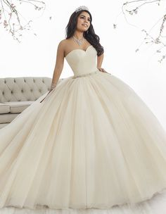 Make a grand entrance in a House of Wu Quinceanera Dress Style Number 26849 during your Sweet 15 party or any formal event. A beautiful strapless sweetheart ball gown has a gathered tulle bodice, drop Xv Dresses, Ball Dresses, Ball Gowns, Prom Dresses, White Quinceanera Dresses, Quinceanera Party, Quinceanera Collection, Tulle Ball Gown, Sweet 16 Dresses