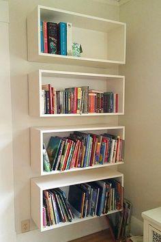 bibliothèque caissons bois peinturés blanc