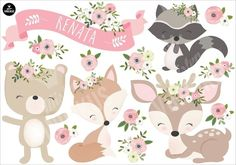 Vinyl Animals of the Romantic Forest Home. Sticker Animals of the Romantic Forest , Woodland Creatures, Woodland Animals, 1st Birthday Girls, 1st Birthday Parties, Bambi, Forest Party, Baby Girl Cards, Woodland Baby, Girl Shower