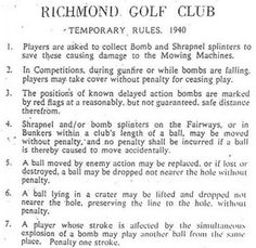 Amazing: Temporary rules posted at Britain's Richmond Golf Club after German bombs hit the course in 1940 pic.twitter.com/Qd5WomGfwU