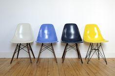 DSW vintage Eames Herman Miller  Off white + Medium Blue + Blue Navy + Jaune Canary