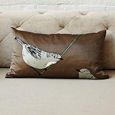 Portlandia had it right... just put a bird on it! I love it.  Gemma Orkin Sparrow Silk Pillow Cover #WestElm