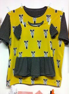 Camiseta de hombre Max y vestido de niña número 15 ottobre 3/2014 a juego. Telas nosh.