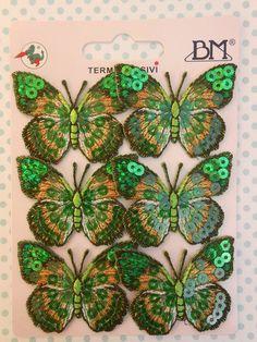 Toppe ricamate - Applicazioni Paillettes Farfalle Verdi pz.2 - un prodotto unico di raffasupplies su DaWanda