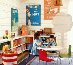 Playroom low shelves