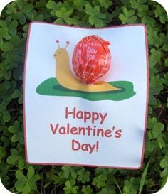 Snail Sucker Valentine- I did this for D's party last year & they turned out so flippin' cute!