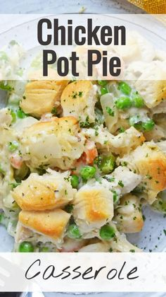 Chicken Pot Pie Casserole, Easy Chicken Pot Pie, Easy Casserole Recipes, Easy Chicken Recipes, Easy Pot Pie Recipe, Chicken Pot Pie Recipe Crockpot, Easy Family Meals, Quick Meals, Easy Family Dinner Recipes
