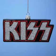 "Kurt Adler 5""KISS Band Logo Rock'n'roll Glass Christmas Holiday Ornament, KS4101"