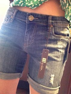 """I would love to try these on, they are not too short I like at least 5"""" inseam on shorts. Corynne Distressed Boyfriend Jean Shorts by Kut from the Kloth."""