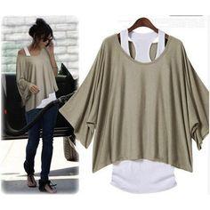 Khaki Loose Fashion Bat Sleeve T-shirt Vest ($29)