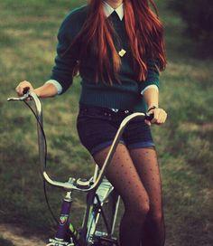 OUTFIT: collared shirt, green jumper, denim shorts, polka dot stockings. Love it!!
