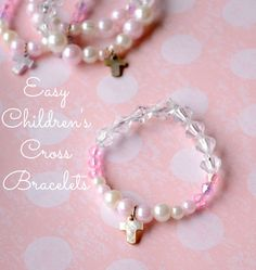 Easy Children's Cross Bracelets from It Happens in a Blink- uses fun materials from @craftprojectideas