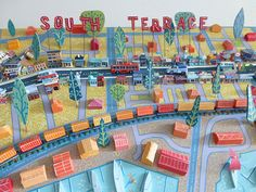 Love the 3-D. | Sara Drake. Central detail of 3-D illustrated map of South Terrace, Fremantle. Balsa wood, wire and beads and acrylic paint.