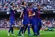 FC Barcelona celebrates after Lionel Messi of FC Barcelona scored his team's third goal from the penalty spot during the La Liga match between Valencia CF and FC Barcelona at Mestalla stadium on October 22, 2016 in Valencia, Spain.
