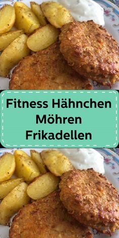 Fitness Hähnchen-Möhren-Frikadellen Fitness, French Toast, Pork, Chicken, Meat, Breakfast, Ethnic Recipes, Hamburger Patties, Cheesecake Bars