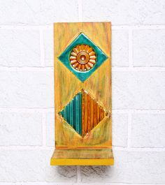 Teal Green & Mustard Rubber Wood Stand #indianroots #homedecor #decor #stand #walldecor #wood