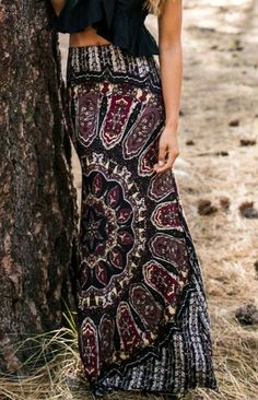 Boho Style | packet buttocks printed long 969