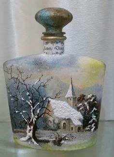 "I like the way the creator added dimension with the added""snow"" to the picture. Hand Painted Wine Glasses, Painted Wine Bottles, Painted Jars, Vintage Bottles, Glass Bottle Crafts, Wine Bottle Art, Christmas Decoupage, Christmas Crafts, Christmas Wine Bottles"