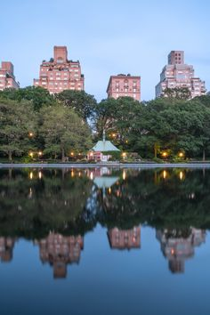 Beautiful pond reflection of buildings, nature, trees and lights at NYC central park Park Art, From The Ground Up, Conservatory, Buy Frames, Central Park, Pond, Reflection, Buildings, Gallery Wall
