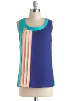 Peach-A-Blue Top - Mid-length, Blue, Pink, Solid, Pleats, Sleeveless, Cutout, Party, Colorblocking