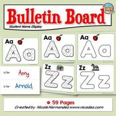 These are letter mats that can be used as a student names bulletin board display for your first day of school activities. Your students will color the mat that begins their name (you would have gone through the list and printed the number of letters accordingly).