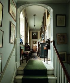Upstairs hall, untouched since 1964 in leading British architect Sir Albert Richardson's (1880-1964) perfect country home in Bedfordshire, England. Via Christies, September 2013, image by Simon Upton.