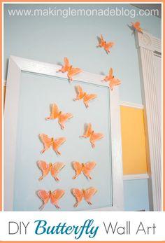 DIY butterfly wall art for girls bedroom