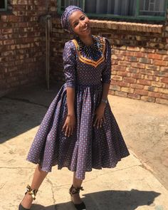 African Wear Dresses, Latest African Fashion Dresses, African Print Fashion, African Attire, Traditional Wedding Attire, Traditional Outfits, Traditional Weddings, Seshoeshoe Designs, Seshoeshoe Dresses