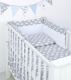 MAMO-TATO 3-el pościel do łóżeczka minky Chmurki białe na szarym / biały