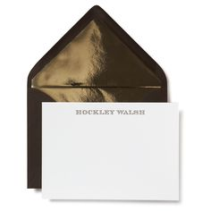 Chestnut Letterpressed Personal Stationery with Gold Envelope Liners