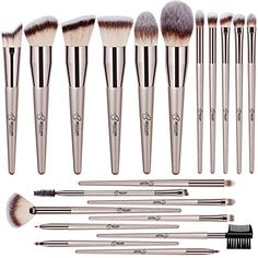 BESTOPE 20 PCs Makeup Brushes Premium Synthetic Contour Concealers Foundation Powder Eye Shadows Makeup Brushes with Champagne Gold Conical Handle – Enibeautyworld Best Face Makeup, Best Makeup Brushes, How To Clean Makeup Brushes, Eye Brushes, Eyeshadow Brushes, Makeup Brush Set, Eyeshadow Makeup, Makeup Kit, Makeup Tools