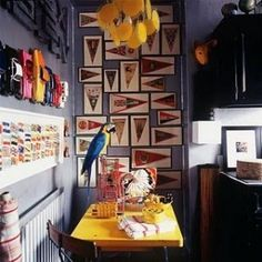 A Collector's Home in London - AD Magazine - via Keltainen talo rannalla Boy Room, Kids Room, Wet Plate Collodion, Wall Groupings, Pennant Flags, Baseball Pennants, Bunting, Banners, Design A Space