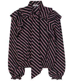 BALENCIAGA Ruffled Striped Blouse. #balenciaga #cloth #tops