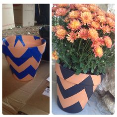 Chevron Clay Flower Pot: Place painter's tape on pot to map out design, trim away excess with box cutter (don't cut too deep!). Then spray paint with your choice of color. I used a matte black to tie in with my other fall/halloween decor. Let dry, remove tape and that's it. Too freaking easy! *** You can also do 2 colors by spray painting the entire pot one color then continuing with the above steps. ***