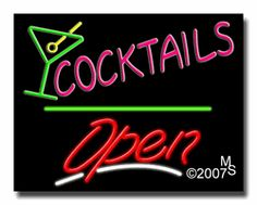 """Cocktails, Logo Open Neon Sign - Script Text - 24""""x31""""-ANS1500-0408-3g  31"""" Wide x 24"""" Tall x 3"""" Deep  Sign is mounted on an unbreakable black or clear Lexan backing  Top and bottom protective sides  110 volt U.L. listed transformer fits into a standard outlet  Hanging hardware & chain included  6' Power cord with standard transformer  Includes 2nd transformer for independent OPEN section control  For indoor use only  1 Year Warranty on electrical components."""