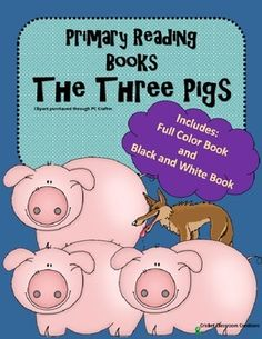 Who doesn't love the story of THE THREE LITTLE PIGS?  Kids love this story and love to be able to read the story for themselves!  This set includes half-sized pages in a Full Color Version and a Black and White Version.  These are easy to assemble and have an off-set margin that leaves room for stapling or binding combs.