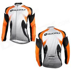 Brand: NUCKILY; Model: NJ528-W; Quantity: 1; Color: Orange + black + white; Material: Fleece + polyester fiber; Size: XL; Gender: Men's; Best use: Cycling; Suitable for: Adults; Length: 75 cm; Sleeve Length: 79 cm; Shoulder Width: No cm; Chest Girth: 108 cm; Suitable for Height: 173~178 cm; Features: Comfortable for long time wearing; Packing List: 1 x Cycling jersey; http://j.mp/VIQ5jX