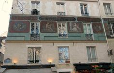 Historic frescos on a building along the Rue des Grands Degres in the Latin Quarter. #Paris