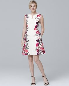 Women's Sleeveless Floral-Print Fit-and-Flare Dress by White House Black Market