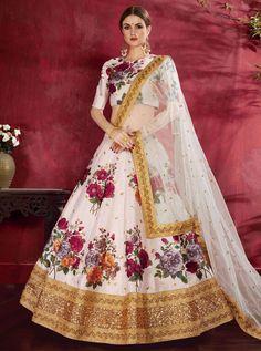 Lehenga Choli Latest, Floral Lehenga, Lehenga Blouse, Bridal Lehenga Choli, Indian Lehenga, Silk Lehenga, Silk Dupatta, Lehnga Dress, Lehenga White