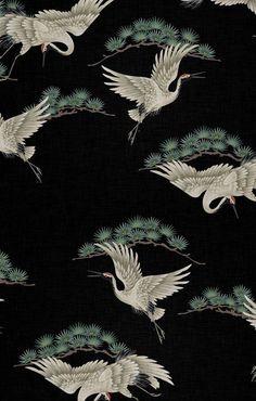 Modern Home Decor Ideas Asian Wallpaper, Colorful Wallpaper, Black Wallpaper, Flamingo Wallpaper, Bird Wallpaper, Pattern Wallpaper, Japanese Patterns, Japanese Art, Art Asiatique