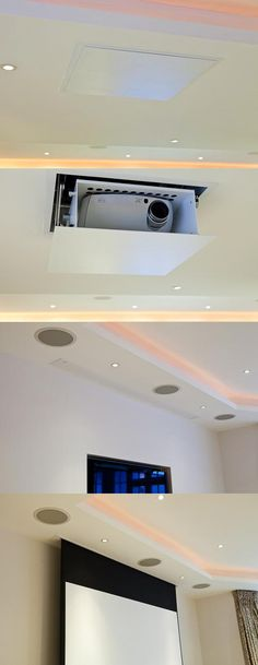 In-Ceiling Roll-Down Projector System (pictures from: http://www.inspireddwellings.com/content/home-cinema)