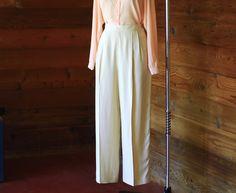 vintage cream silk wide leg trousers / size by honeytalkvintage