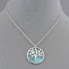 Silver  Patina Tree of Life Pendant. Silver Patina Tree of Life pendant style necklace.  Beautiful Sterling silver chain. Jewelry Necklaces
